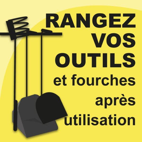 panneau rangez vos outils jaune cheval écurie fourches boxprotec