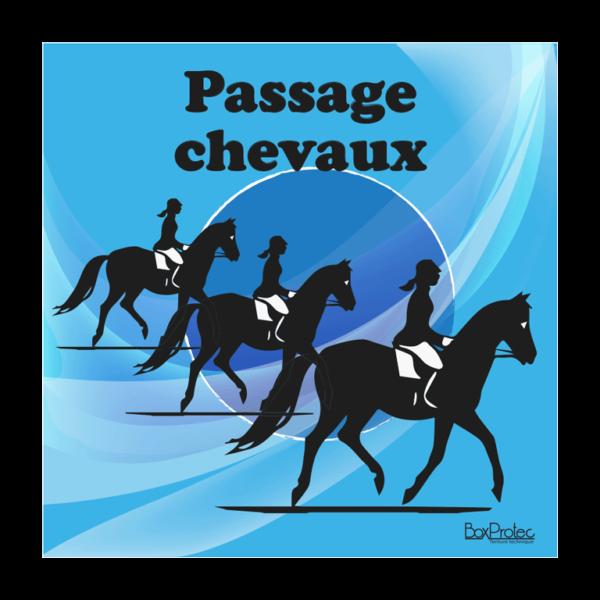 panneau attention passage de chevaux bleu