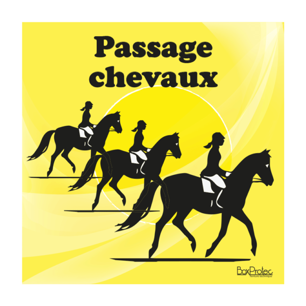 panneau attention passage de chevaux jaune