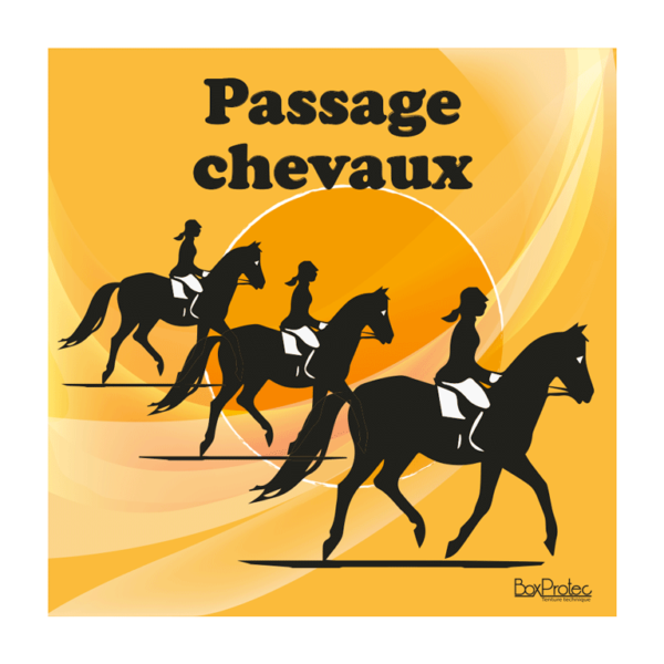 panneau attention passage de chevaux orange