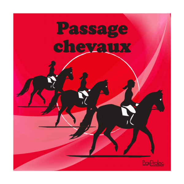 panneau attention passage de chevaux rouge