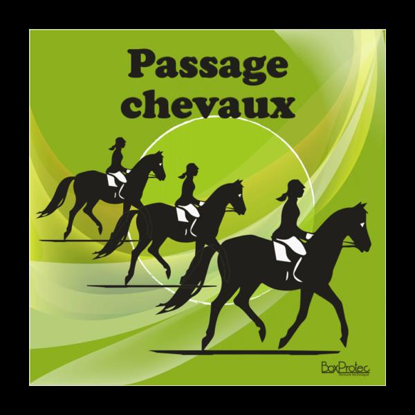 panneau attention passage de chevaux vert