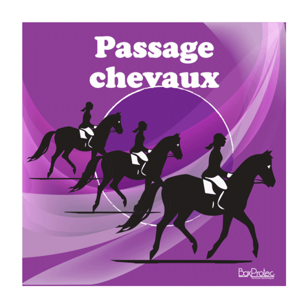 panneau attention passage de chevaux violet