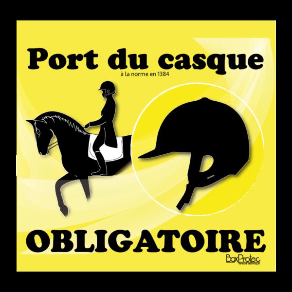 panneau port du casque d'équitation obligatoire jaune
