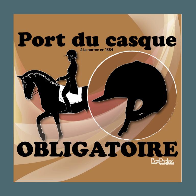 panneau port du casque d'équitation obligatoire marron