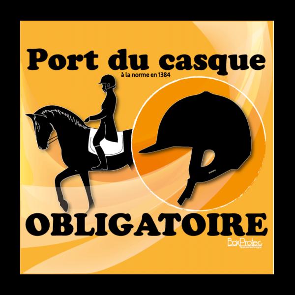 panneau port du casque d'équitation obligatoire orange
