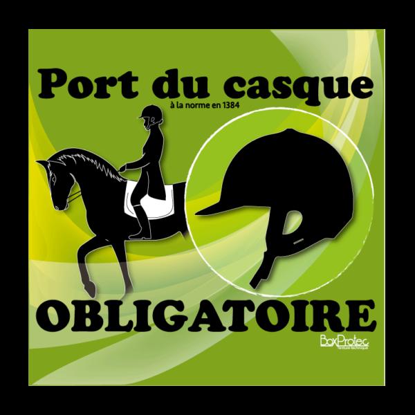 panneau port de la bombe d'équitation obligatoire vert