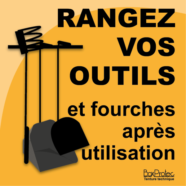 panneau rangez vos outils orange cheval écurie fourches boxprotec