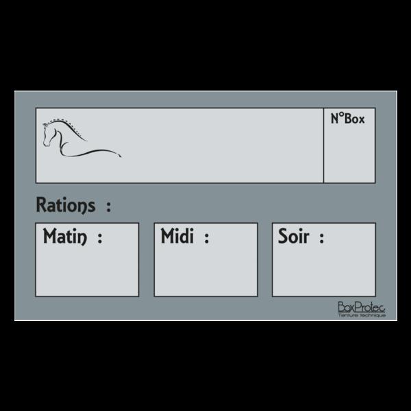 plaque de ration chevaux gris