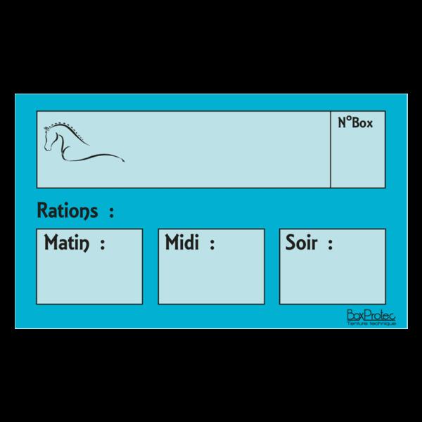 plaque de ration chevaux turquoise