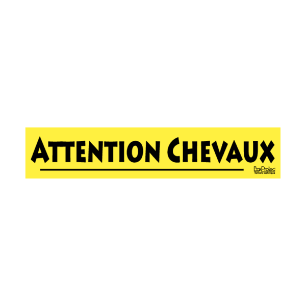 autocollant attention chevaux jaune boxprotec
