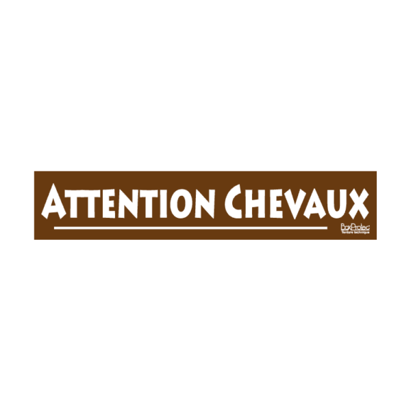 autocollant attention chevaux marron boxprotec