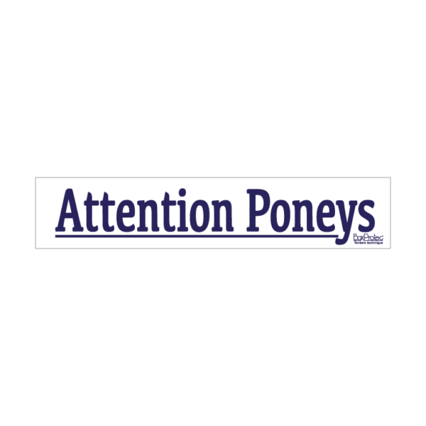 autocollant attention poneys blanc boxprotec