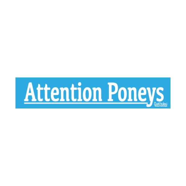 autocollant attention poneys bleu boxprotec
