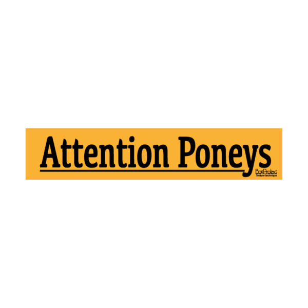 autocollant attention poneys orange boxprotec
