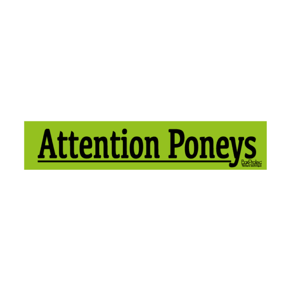 autocollant attention poneys vert boxprotec