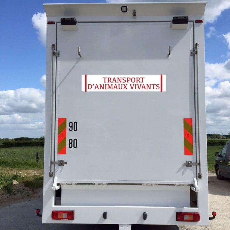 stickers transport d'animaux vivants blanc et rouge