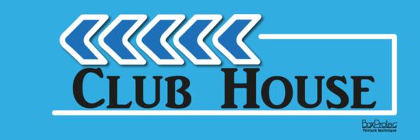 panneau de direction flèche club house bleu fléchage boxprotec