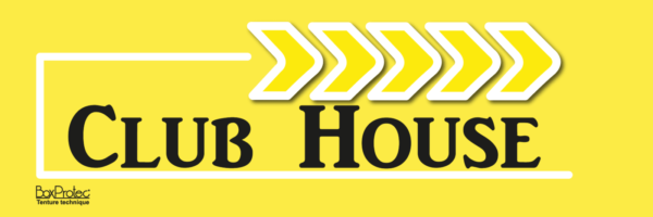 affichage flèche club house jaune fléchage boxprotec