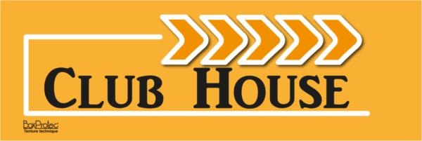 affiche flèche club house orange fléchage boxprotec