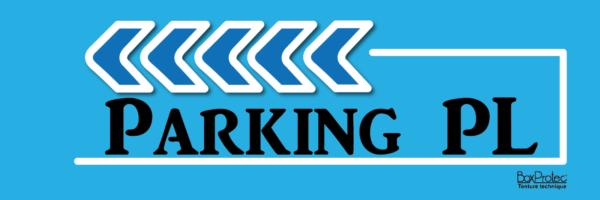 panneau signalétique d'écurie bleu parking poids lourd boxprotec