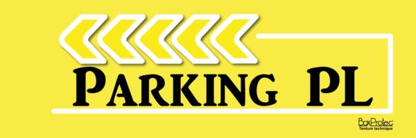 plaque de direction jaune parking poids lourd boxprotec