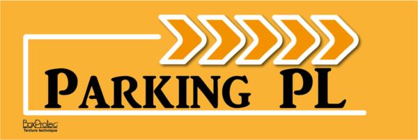 panneau flèchage orange parking poids lourd boxprotec
