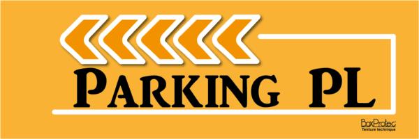 plaque fléchage orange parking poids lourd boxprotec