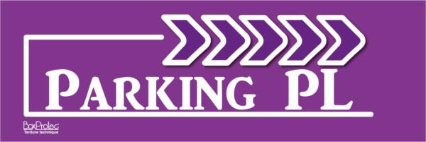 panneau de direction violet parking poids lourd boxprotec