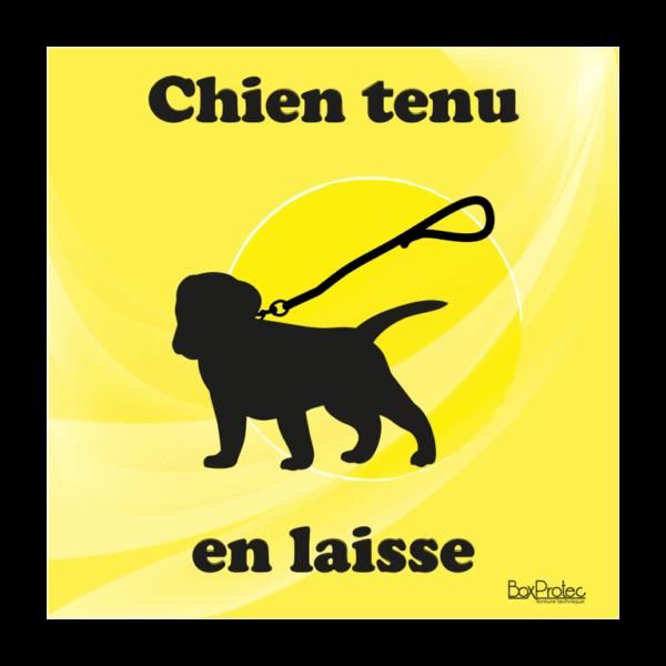 panneau chien tenu en laisse jaune