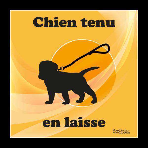 panneau chien tenu en laisse orange