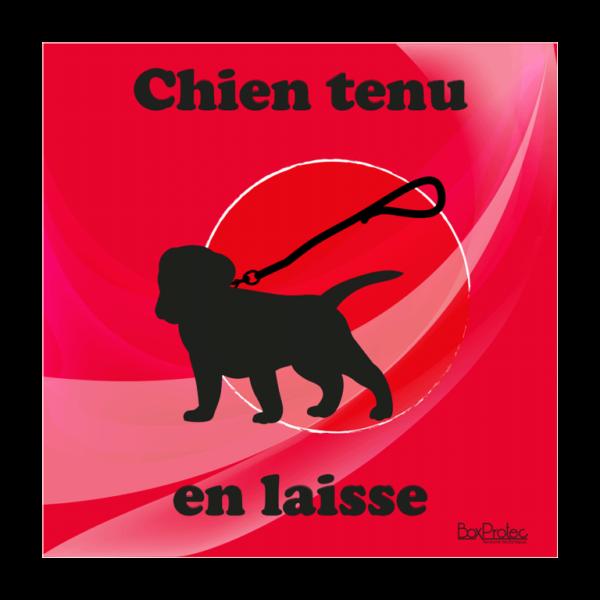 panneau chien tenu en laisse rouge