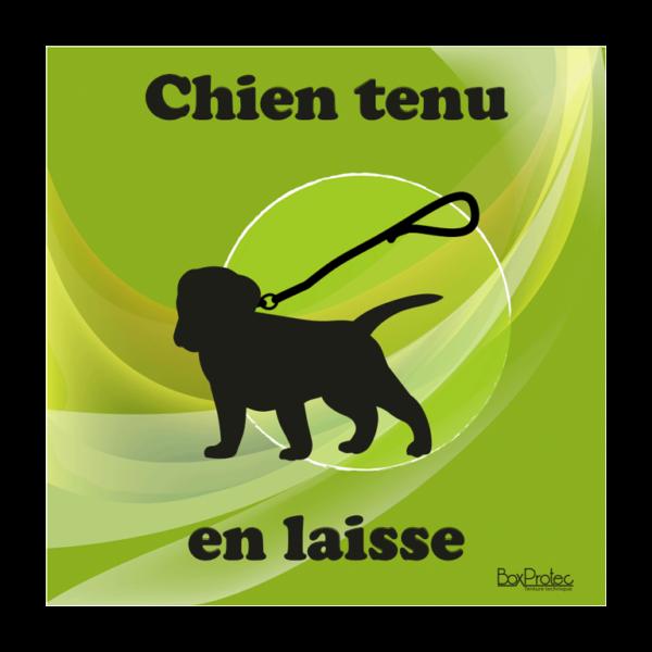 panneau chien tenu en laisse vert