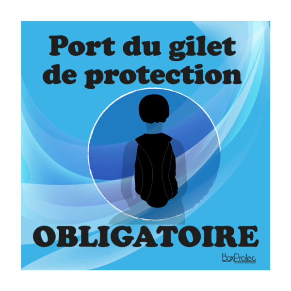 panneau port du gilet de protection obligatoire bleu
