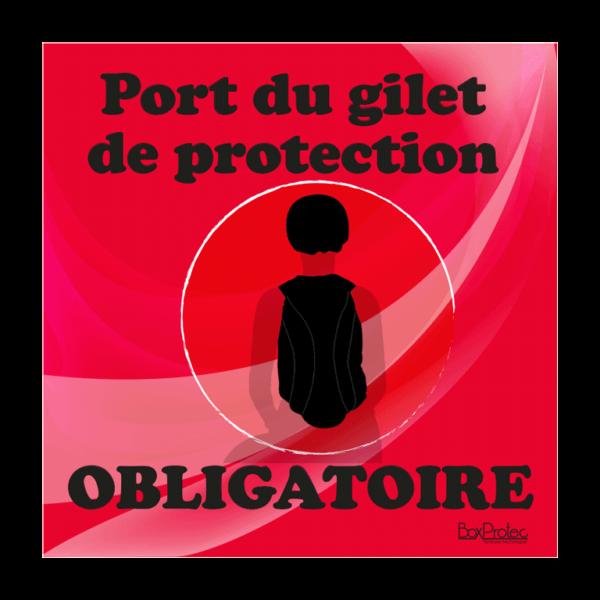panneau port du gilet de protection obligatoire rouge