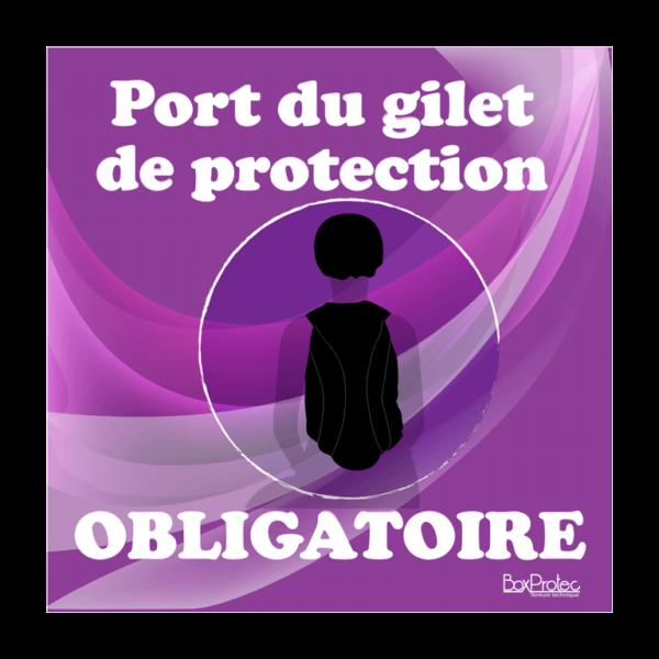panneau port du gilet de protection obligatoire violet