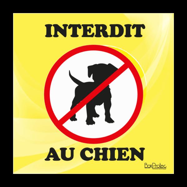 panneau interdiction aux chiens jaune