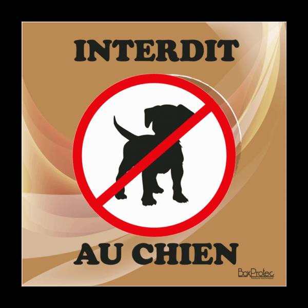 panneau interdiction aux chiens marron
