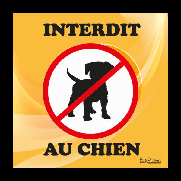 panneau interdiction au chien orange