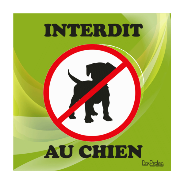panneau interdit au chien vert