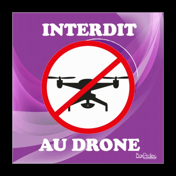 panneau interdit aux drônes violet