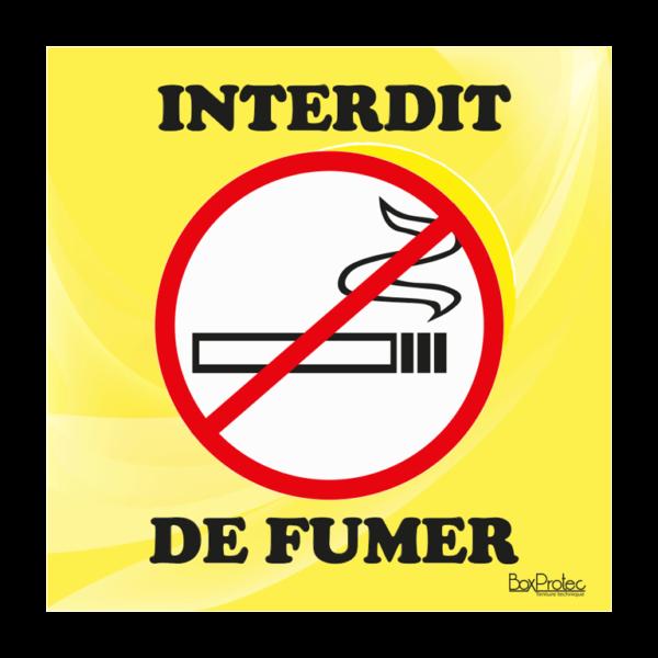 panneau interdit de fumer jaune