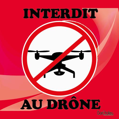 """panneau Boxprotec """"interdit au drône"""" rouge"""