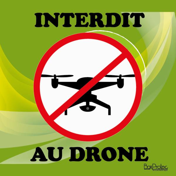 panneau interdit au drone vert Boxprotec