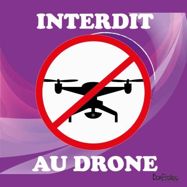 plaque interdit au drone violet boxprotec