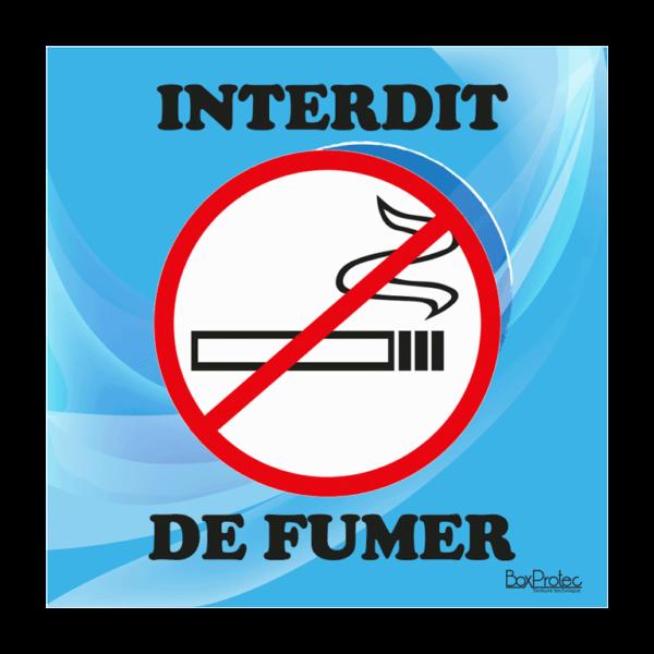 panneau interdit de fumer bleu