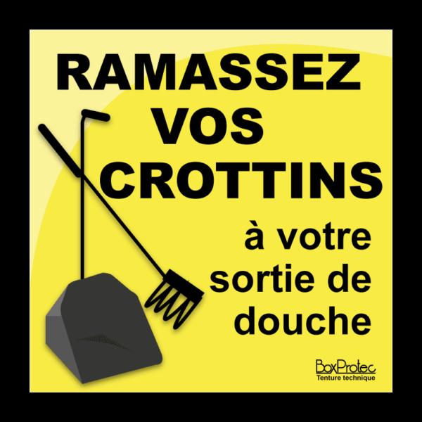 panneau ramassez vos crottins à votre sortie de douche jaune