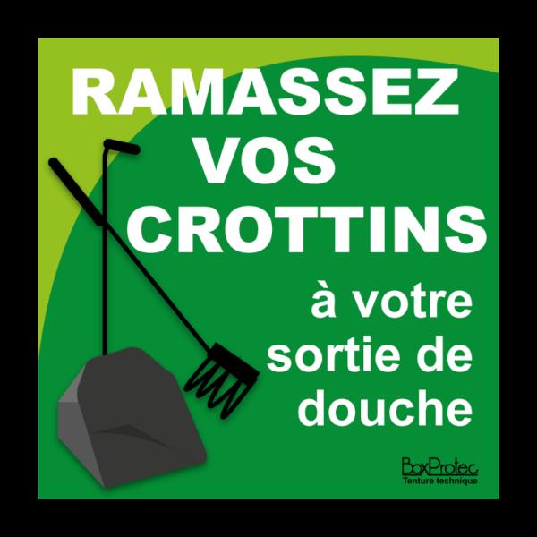 panneau ramassez vos crottins à votre sortie de douche vert