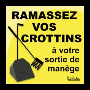 panneau ramassez vos crottins à votre sortie de manège jaune