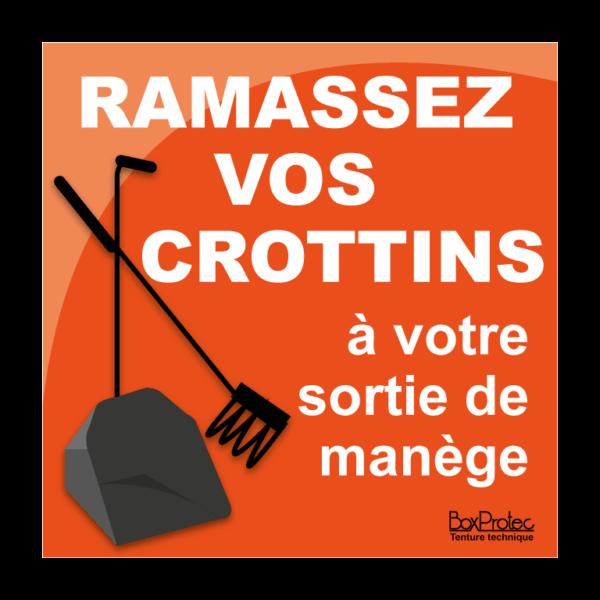 panneau ramassez vos crottins à votre sortie de manège orange